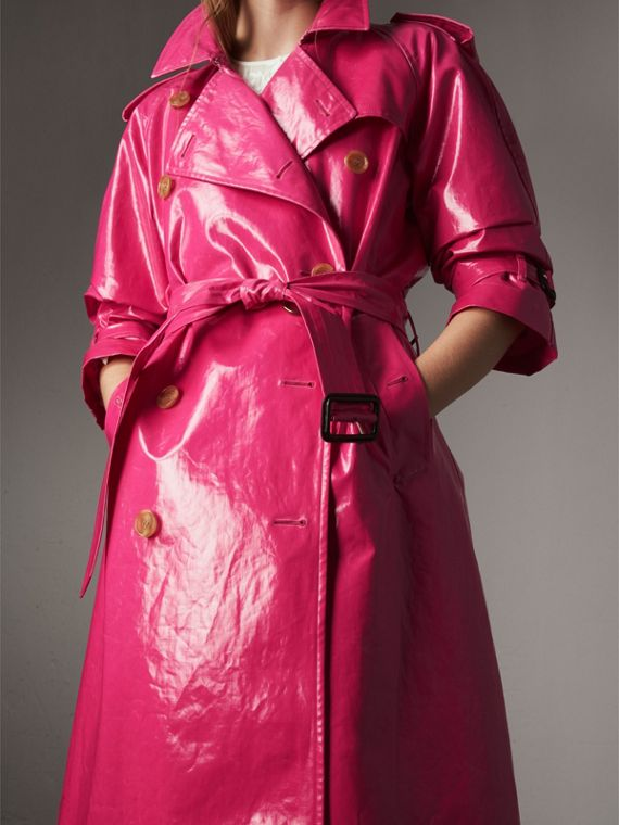 Laminated Cotton Trench Coat in Neon Pink - Women | Burberry - cell image 3