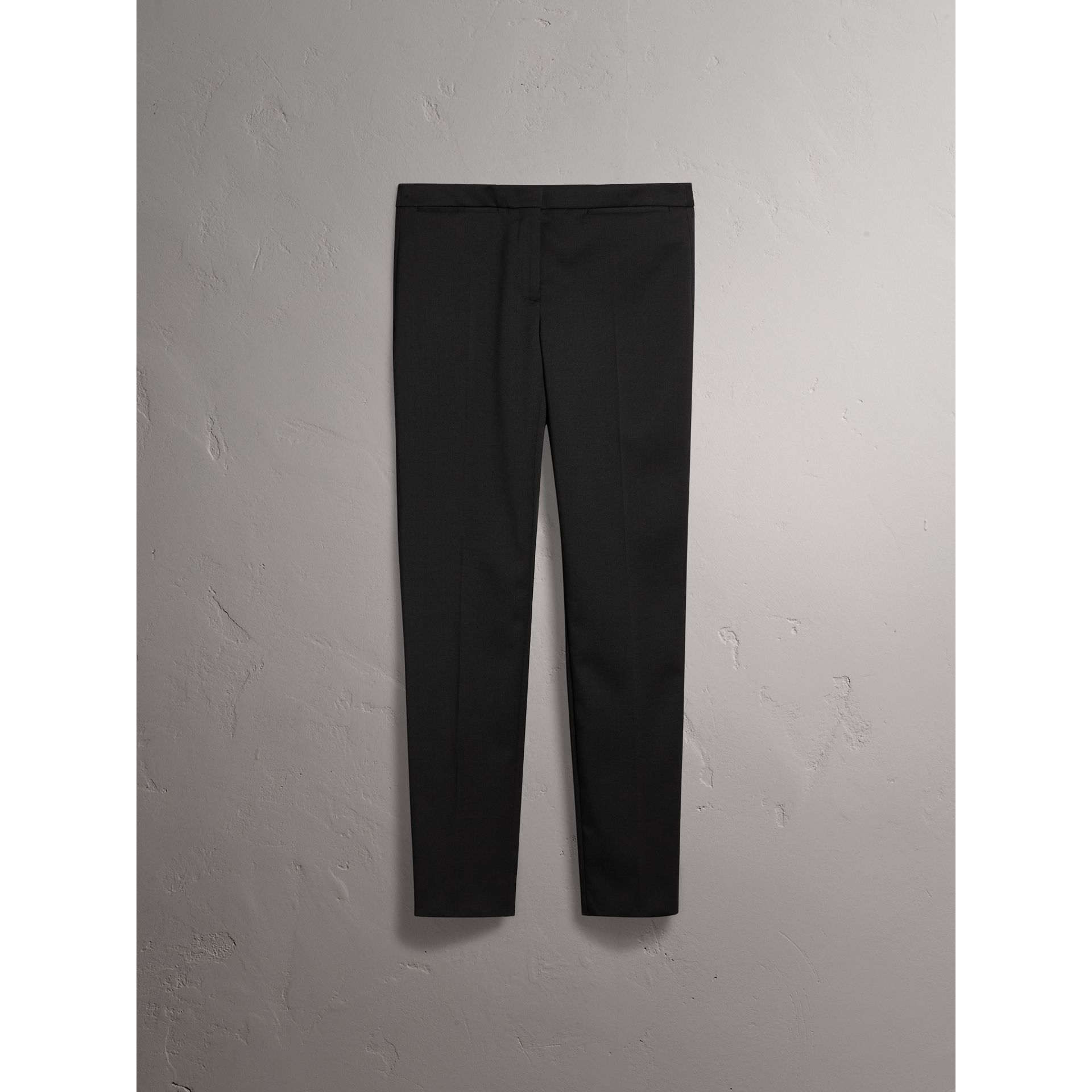 Slim-fit Stretch Wool Trousers in Black - Women | Burberry - gallery image 4