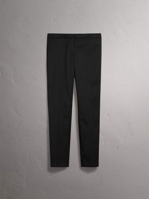Slim-fit Stretch Wool Trousers in Black - Women | Burberry - cell image 3