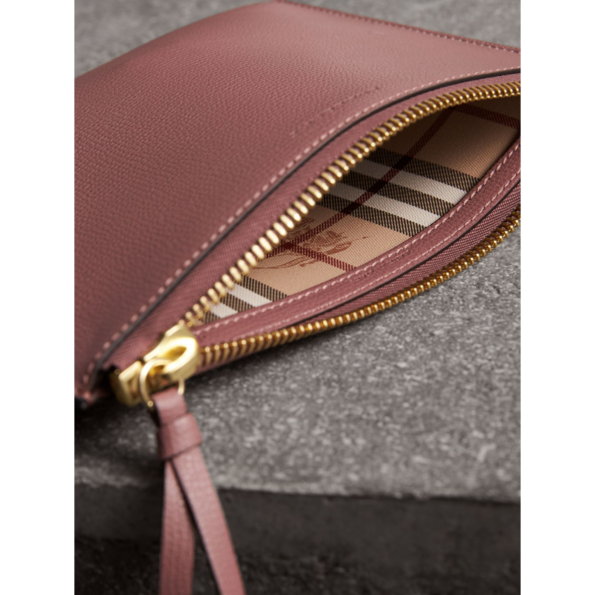 Haymarket Check and Leather Pouch in Light Elderberry - Women | Burberry - gallery image 5