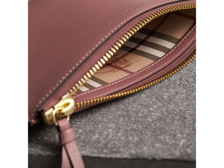 Haymarket Check and Leather Pouch in Light Elderberry - Women | Burberry - cell image 4