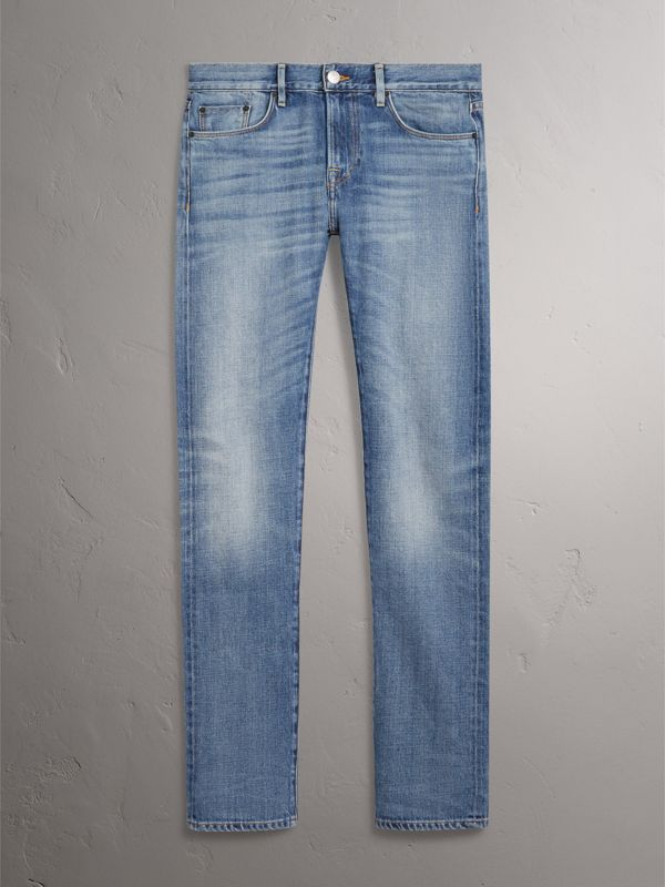 Slim Fit Washed Japanese Selvedge Denim Jeans in Light Indigo - Men | Burberry United Kingdom - cell image 3