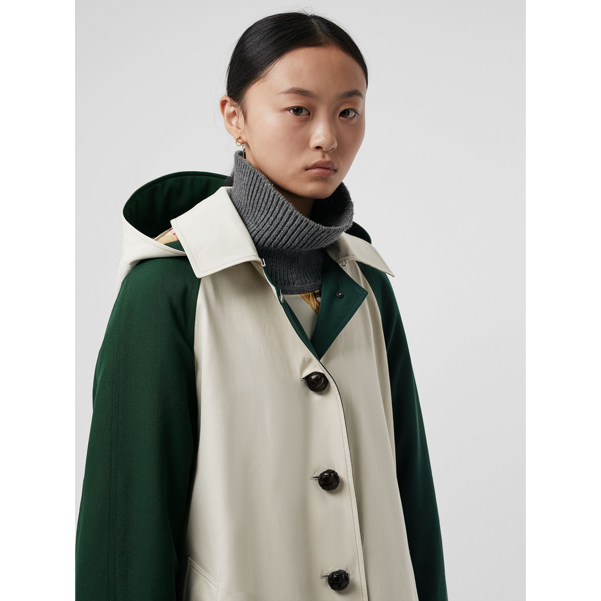 Detachable Hood Wool and Cotton Gabardine Car Coat in Stone - Women | Burberry United Kingdom - gallery image 1