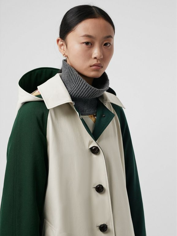 Detachable Hood Wool and Cotton Gabardine Car Coat in Stone - Women | Burberry Singapore - cell image 1
