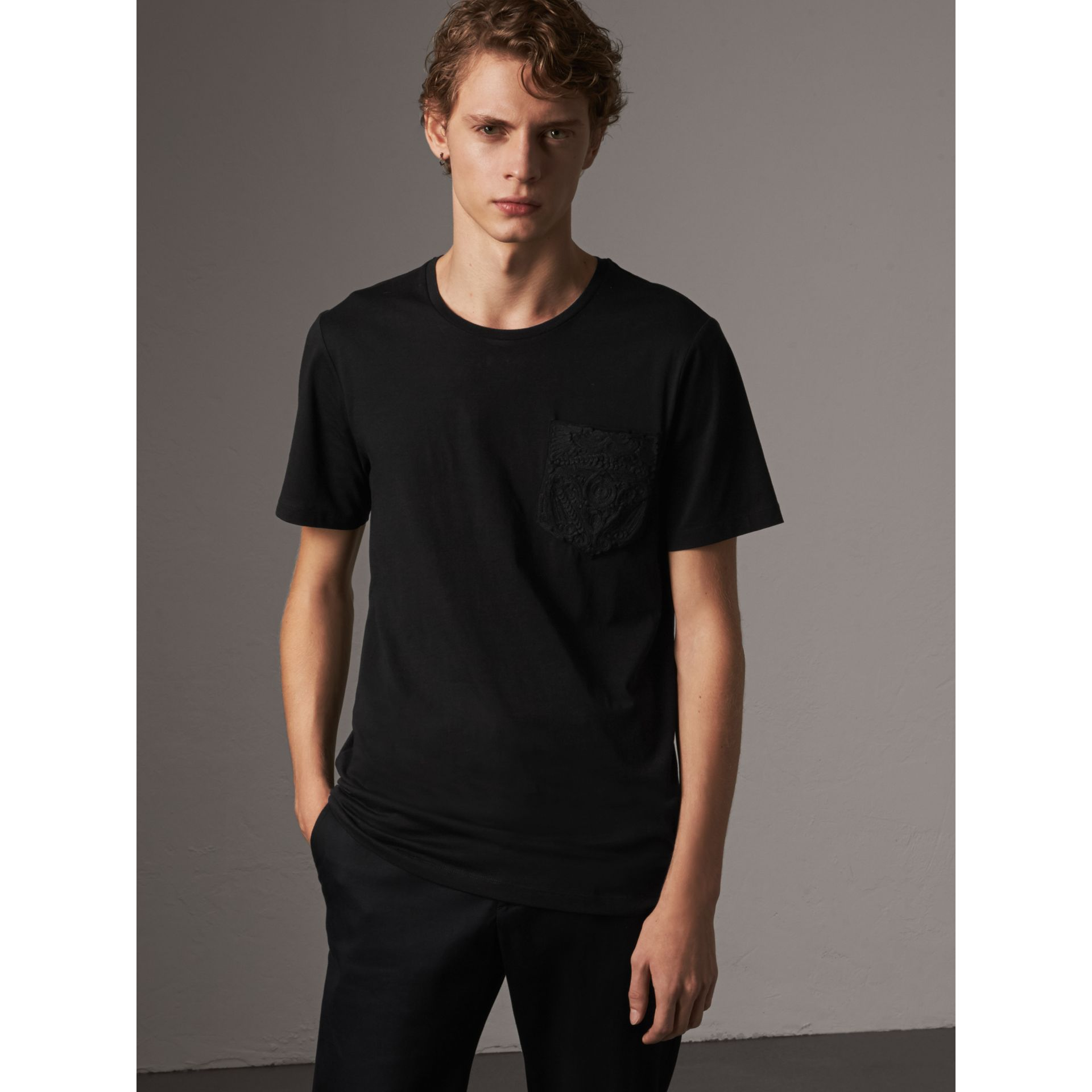 Rope Embroidered Pocket Cotton T-shirt in Black - Men | Burberry - gallery image 5