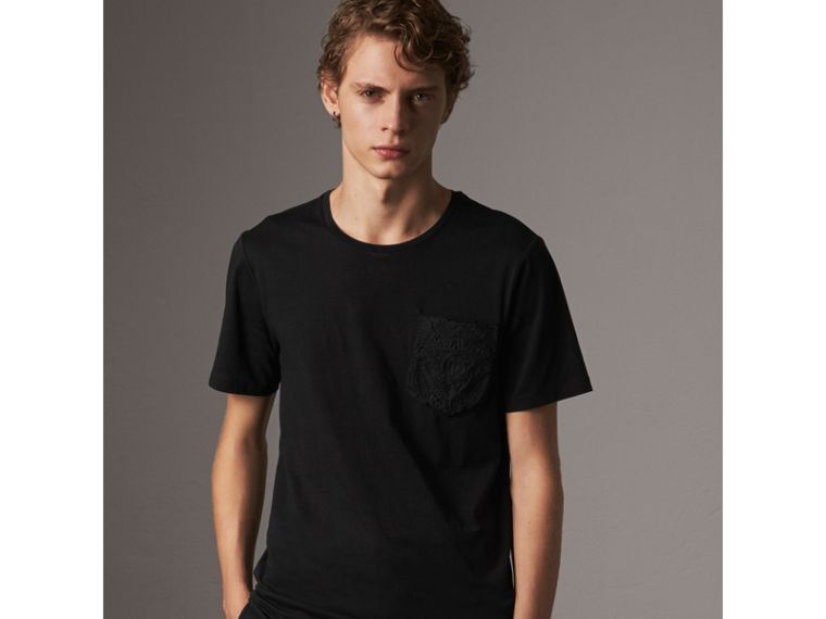 Rope Embroidered Pocket Cotton T-shirt in Black - Men | Burberry - cell image 4