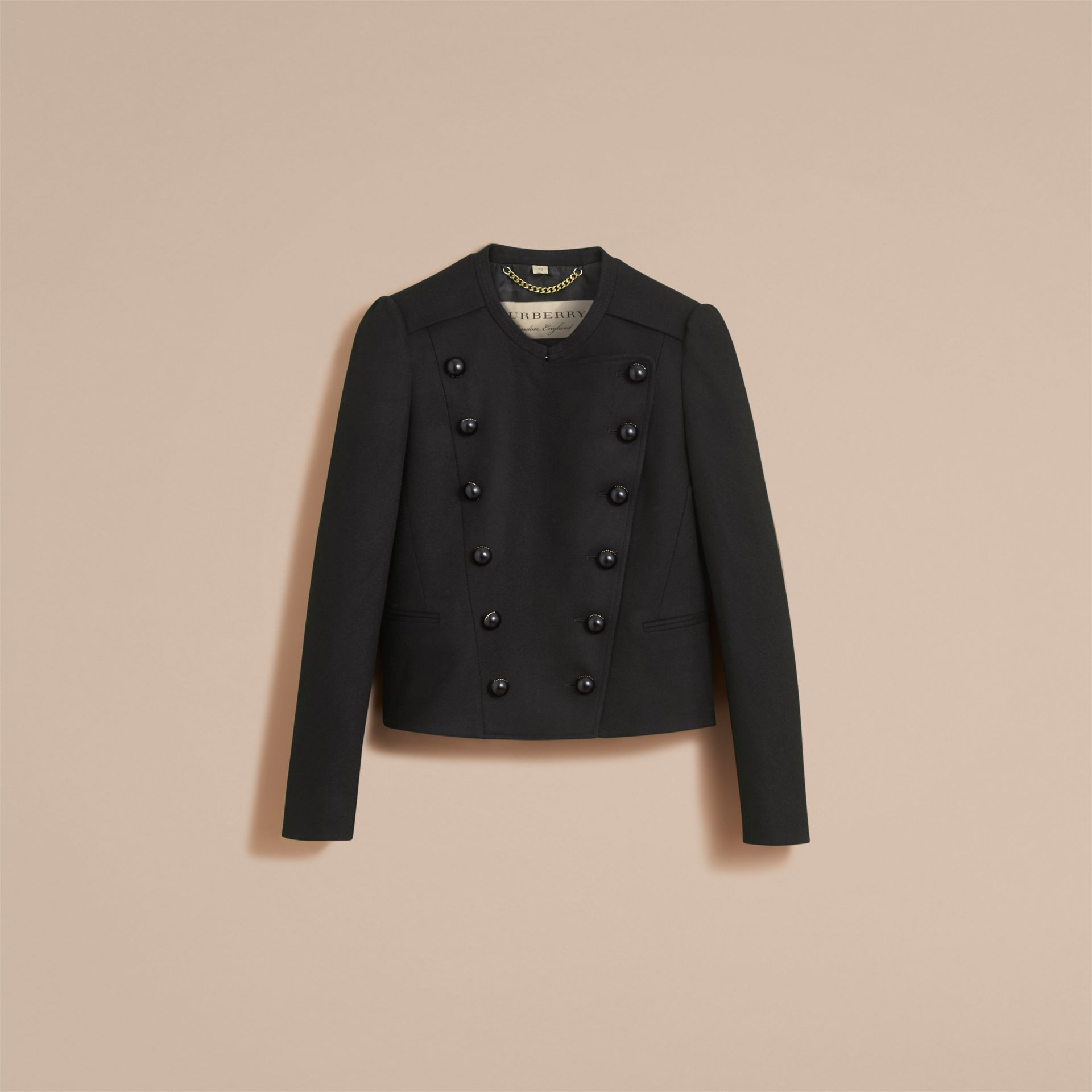 Wool Blend Double-breasted Jacket in Black - Women | Burberry United Kingdom - gallery image 4