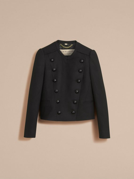 Wool Blend Double-breasted Jacket in Black - Women | Burberry United Kingdom - cell image 3