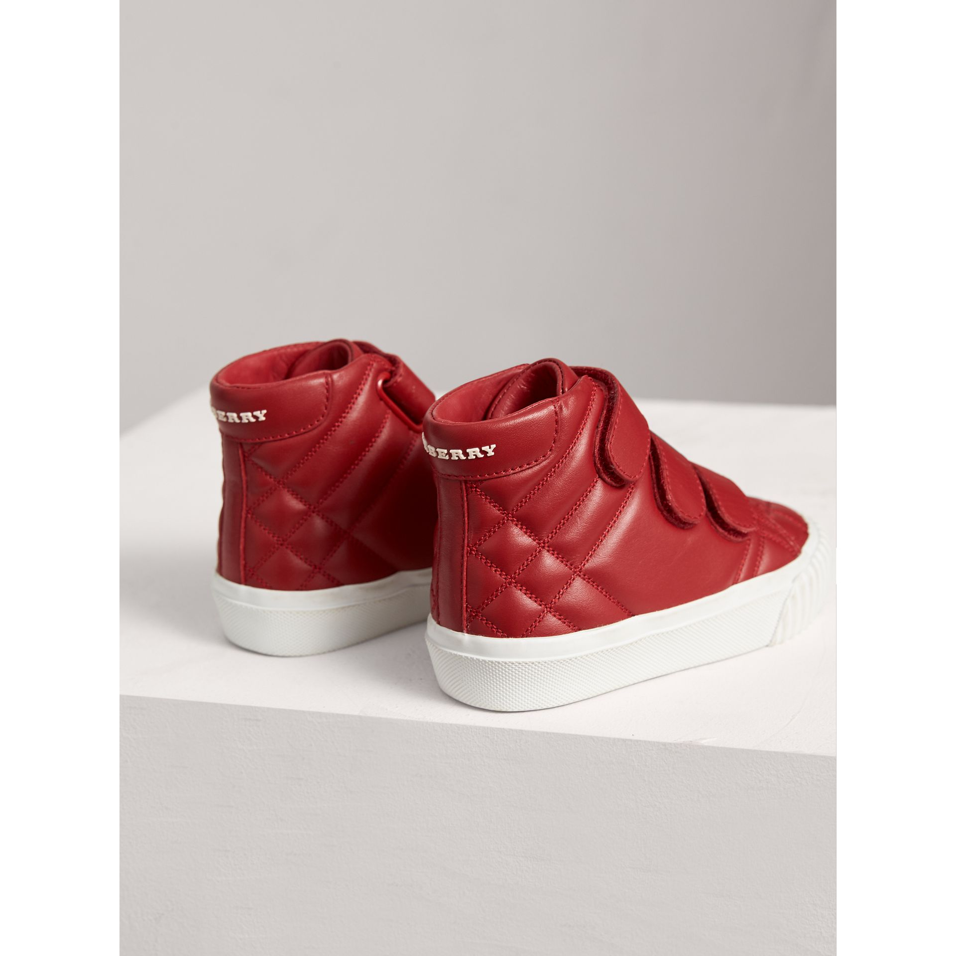 Check-quilted Leather High-top Sneakers in Parade Red | Burberry - gallery image 2