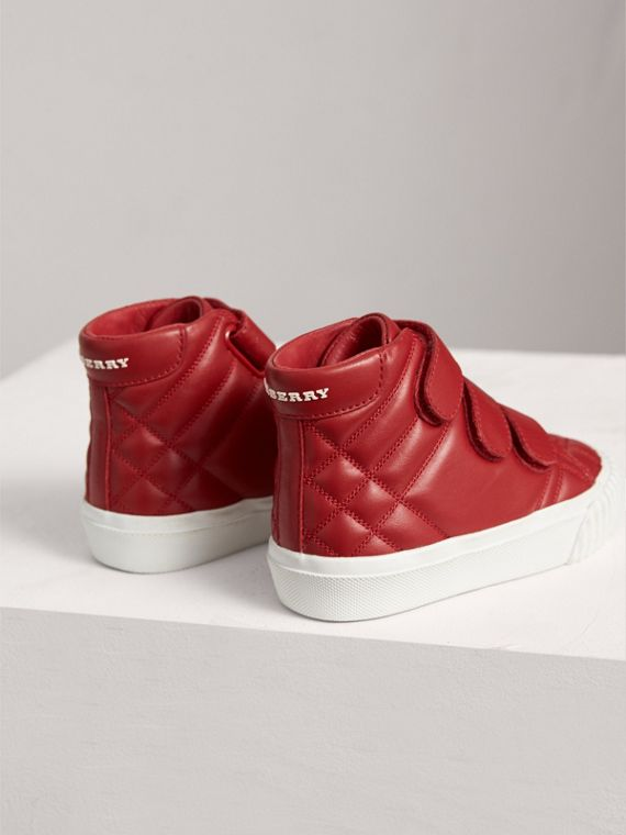 Check-quilted Leather High-top Sneakers in Parade Red | Burberry Canada - cell image 2