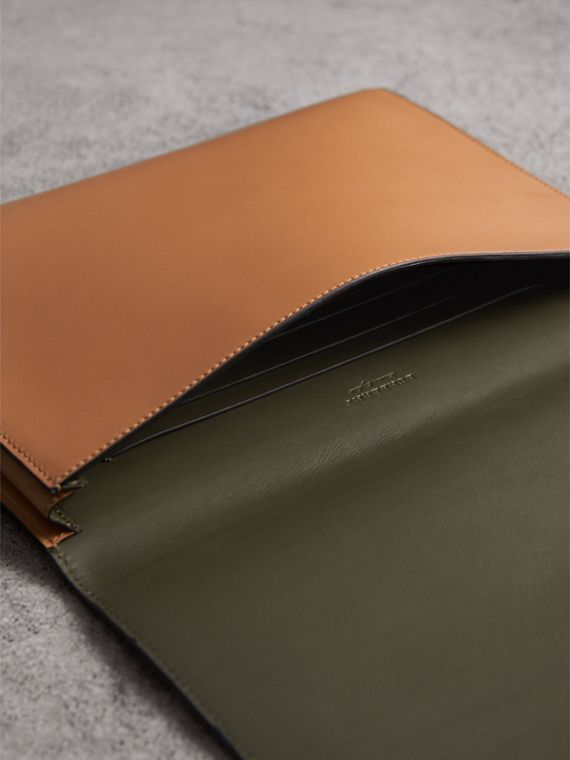 Equestrian Shield Two-tone Leather A4 Document Case in Camel - Men | Burberry Australia - cell image 3