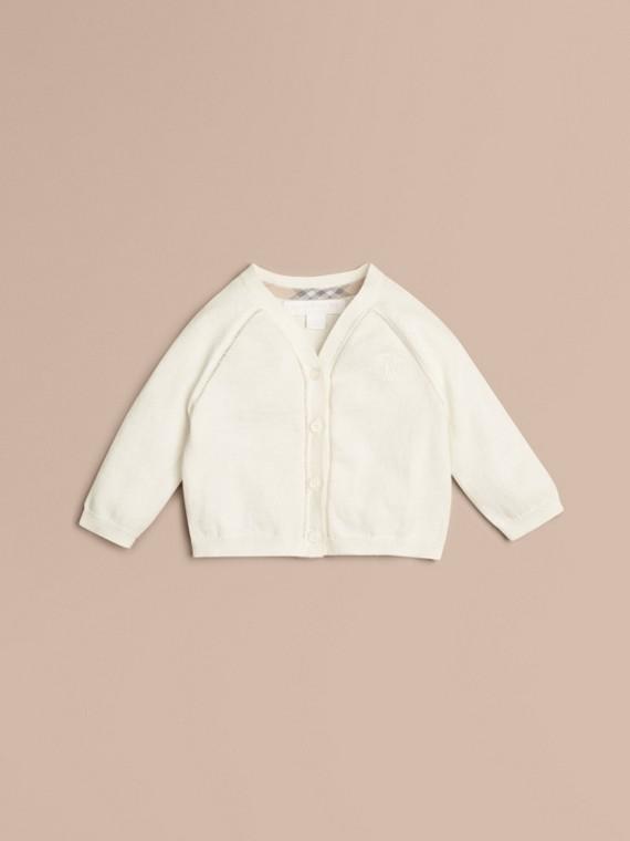 Open Stitch Detail Cotton Cardigan