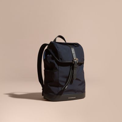 Leather Trim Lightweight Backpack Ink | Burberry