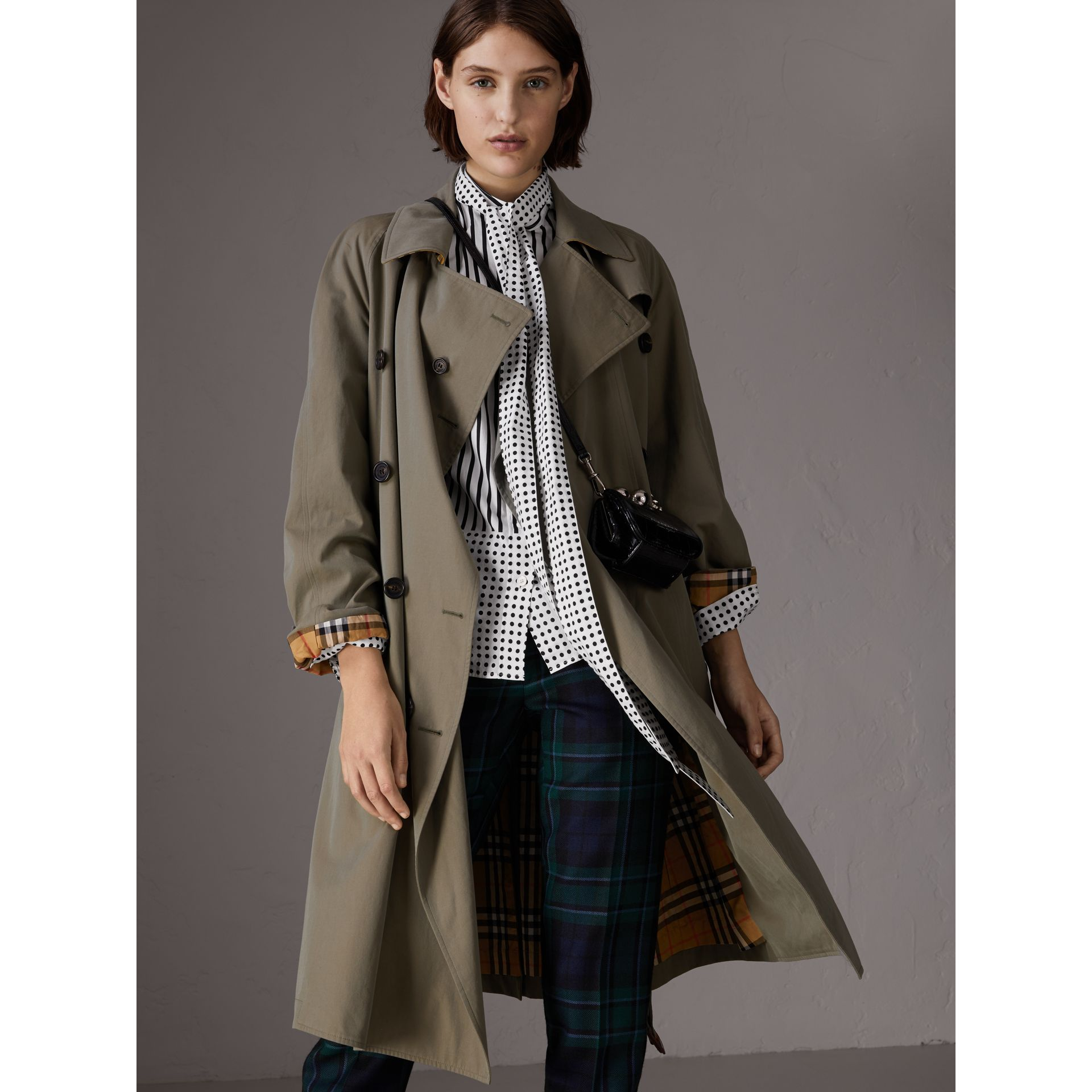 Tropical Gabardine Asymmetric Trench Coat in Chalk Green - Women | Burberry - gallery image 0