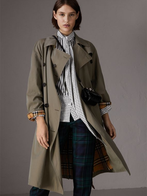 Tropical Gabardine Asymmetric Trench Coat in Chalk Green
