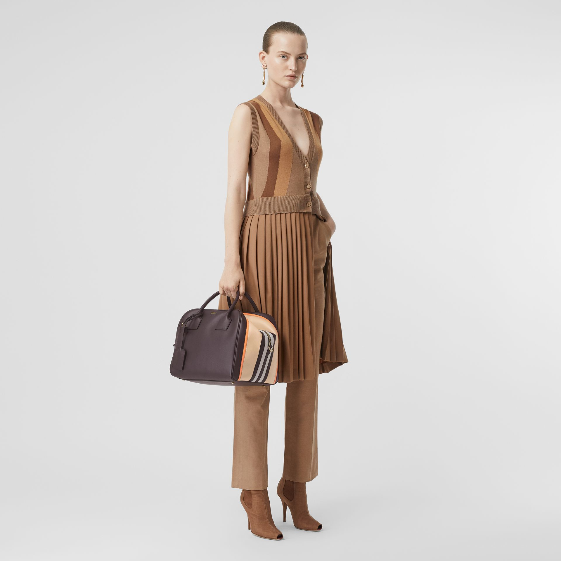 Medium Stripe Intarsia Leather Cube Bag in Coffee/pumpkin - Women | Burberry Hong Kong - gallery image 5
