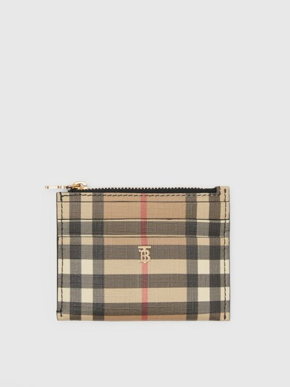 Vintage Check and Leather Zip Card Case in Black