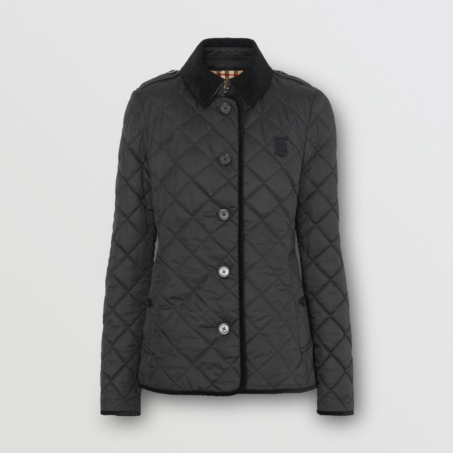 Monogram Motif Diamond Quilted Jacket in Black - Women | Burberry - gallery image 0