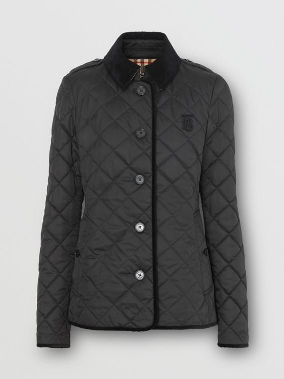 Monogram Motif Diamond Quilted Jacket in Black