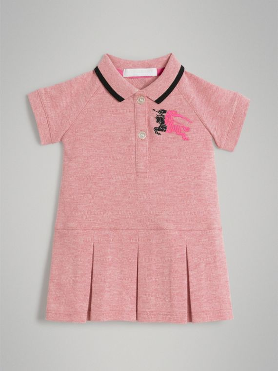 Logo Detail Tipped Cotton Polo Dress in Pale Pink Melange