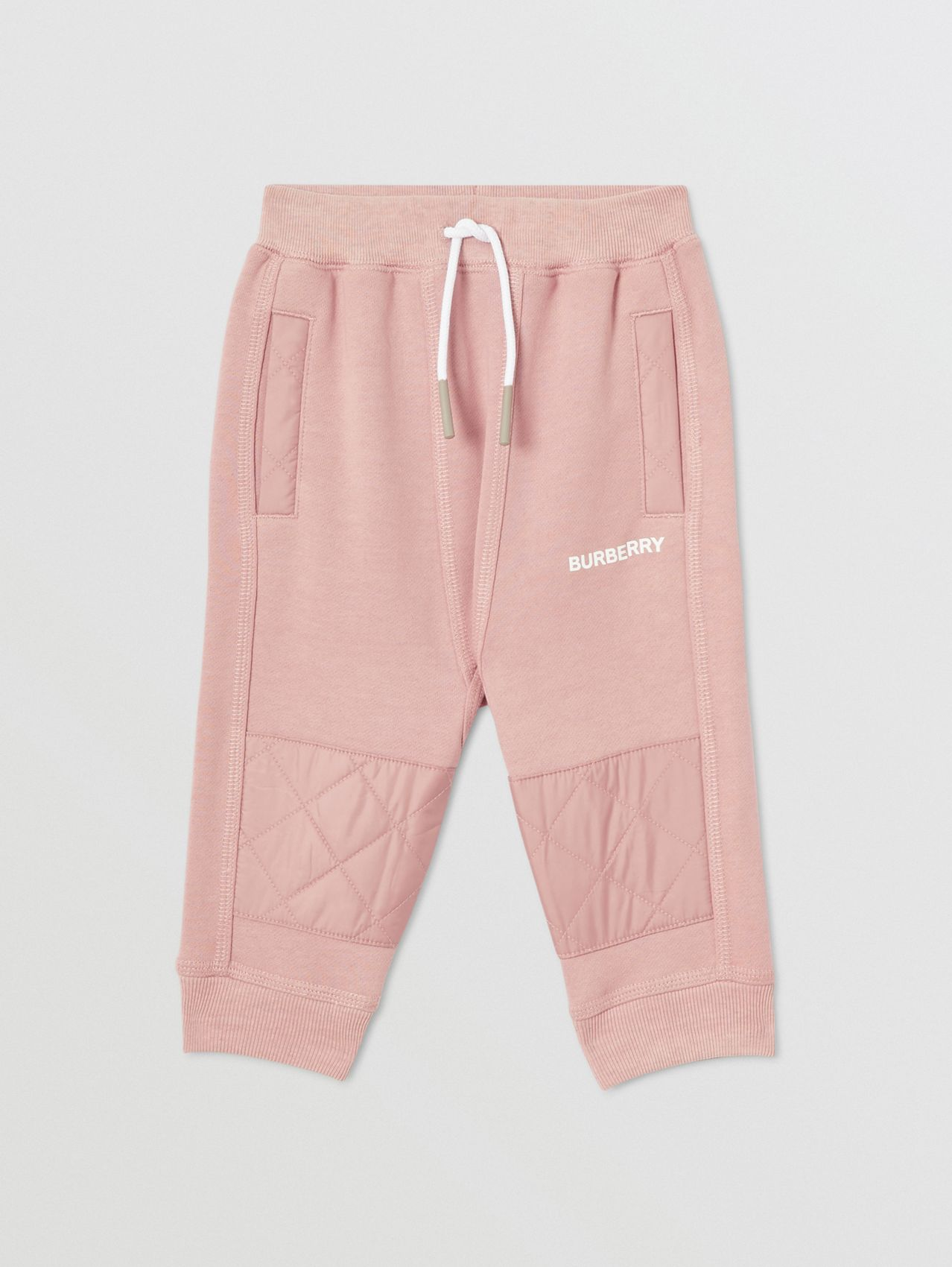 Diamond Quilted Detail Cotton Trackpants in Lavender Pink