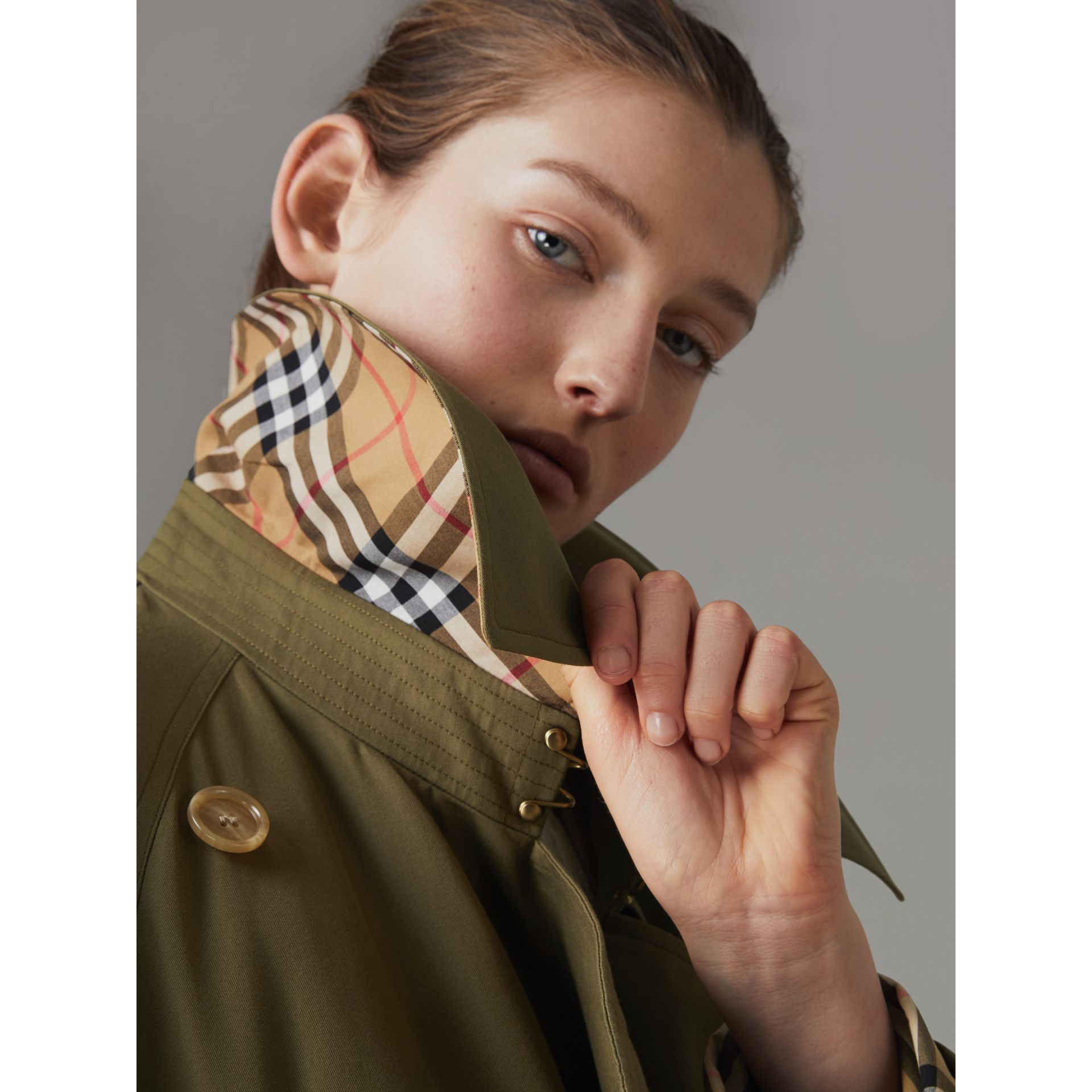 Exaggerated Collar Cotton Gabardine Trench Coat in Military Olive - Women | Burberry - gallery image 4