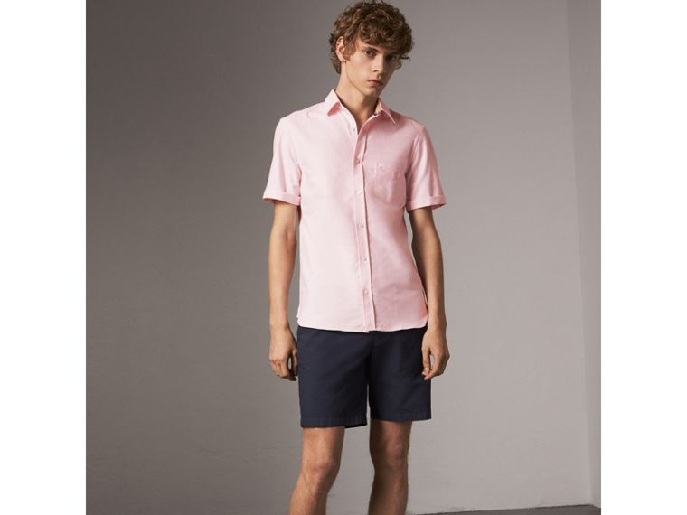Check Detail Short-Sleeved Cotton Oxford Shirt in Pale Pink - Men | Burberry - cell image 4