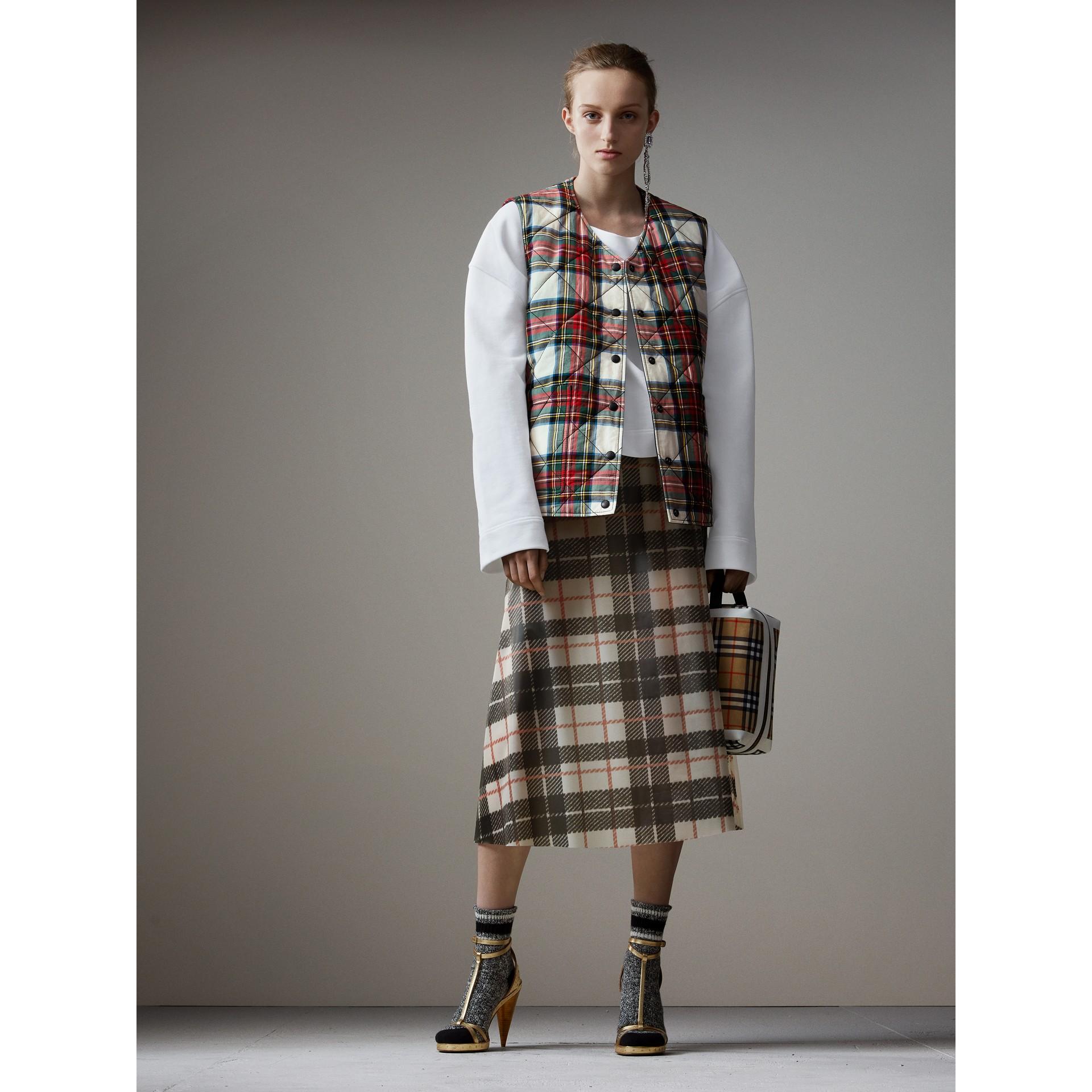 Silk-lined Tartan Plastic A-line Skirt in Black/beige - Women | Burberry - gallery image 6