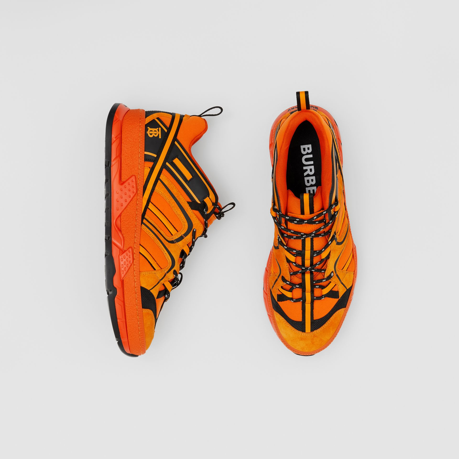 Nylon, Suede and Leather Union Sneakers in Bright Orange - Men | Burberry United Kingdom - gallery image 0