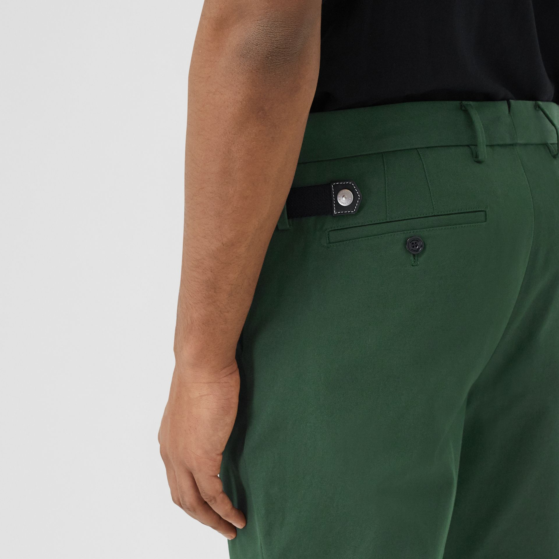 Classic Fit Cotton Chinos in Dark Pine Green - Men | Burberry - gallery image 1