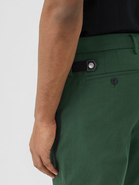 Classic Fit Cotton Chinos in Dark Pine Green - Men | Burberry - cell image 1