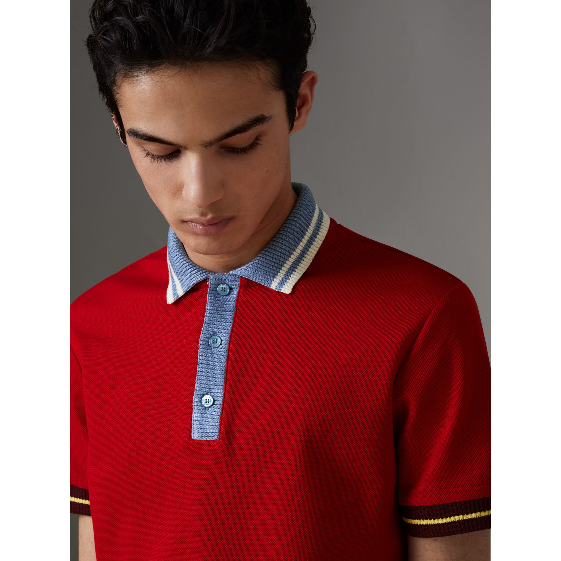 Two-tone Stripe Knitted Detail Cotton Polo Shirt in Cadmium Red - Men | Burberry - gallery image 1