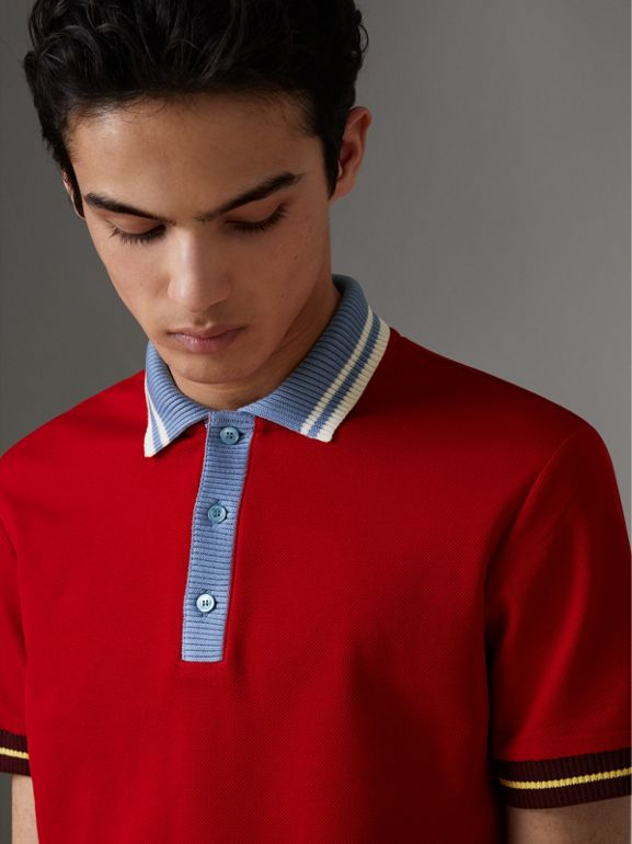 Two-tone Stripe Knitted Detail Cotton Polo Shirt in Cadmium Red - Men | Burberry - cell image 1
