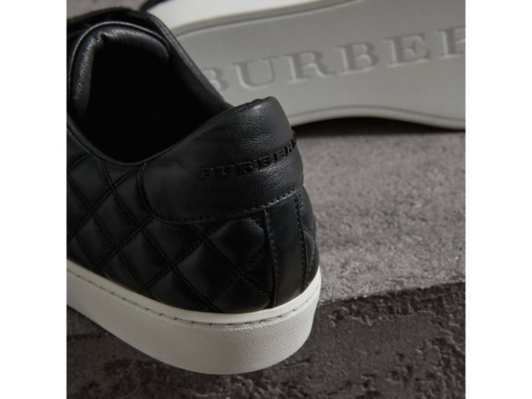 Check-quilted Leather Sneakers in Black - Women | Burberry - cell image 1