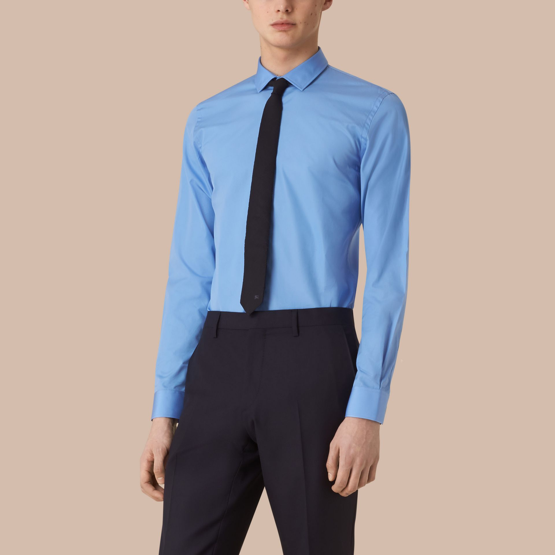 Slim Fit Cotton Poplin Shirt Mid Blue - gallery image 1