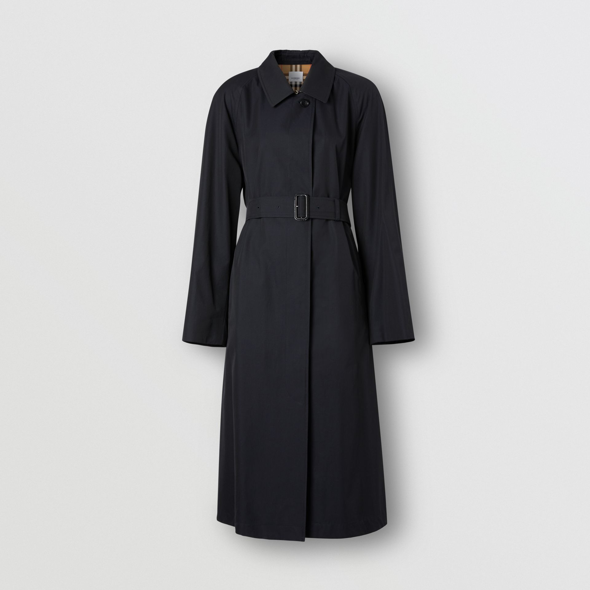 Tropical Gabardine Belted Car Coat in Midnight - Women | Burberry - gallery image 3