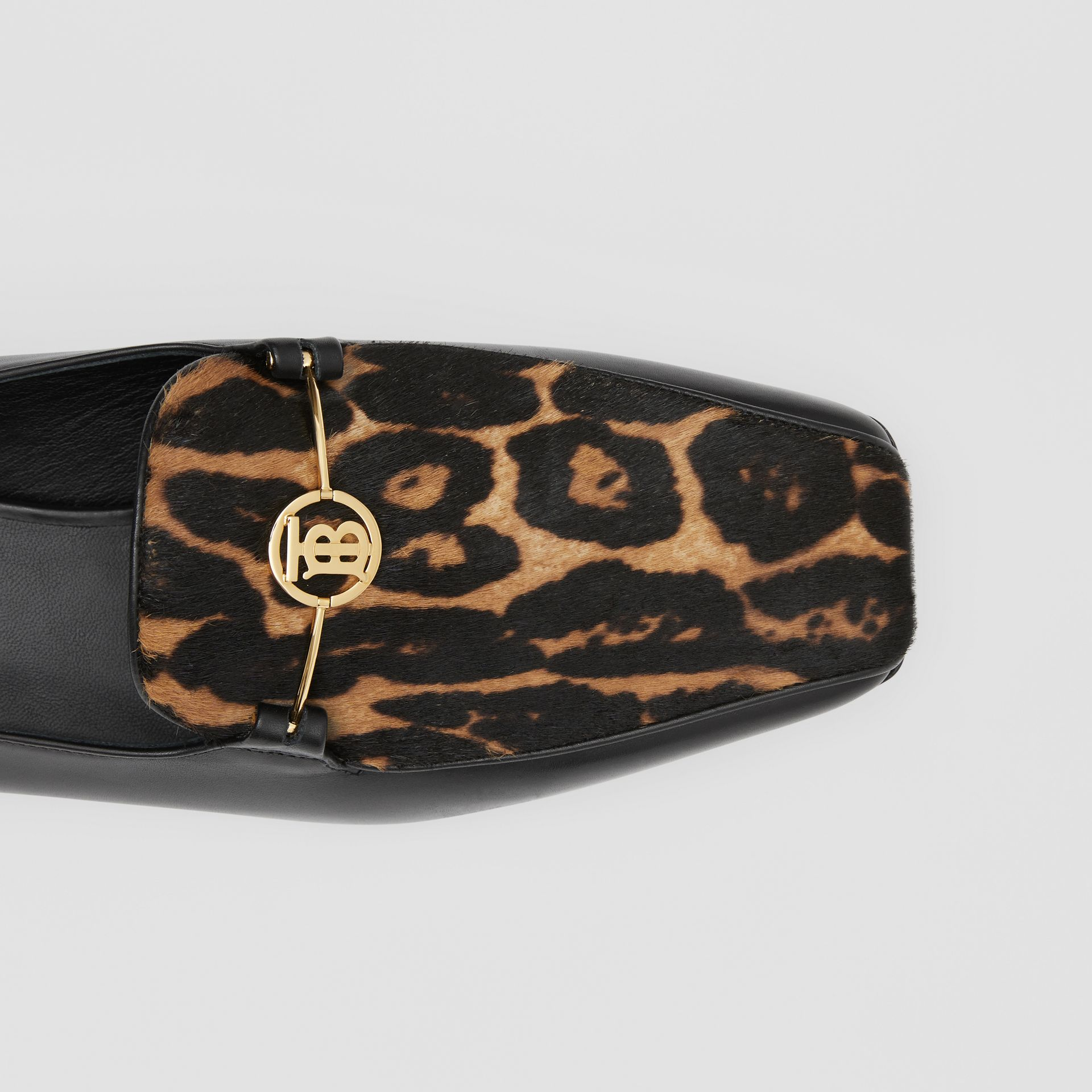 Leopard Print Calf Hair and Leather Loafers in Black/leopard - Women | Burberry United Kingdom - gallery image 1