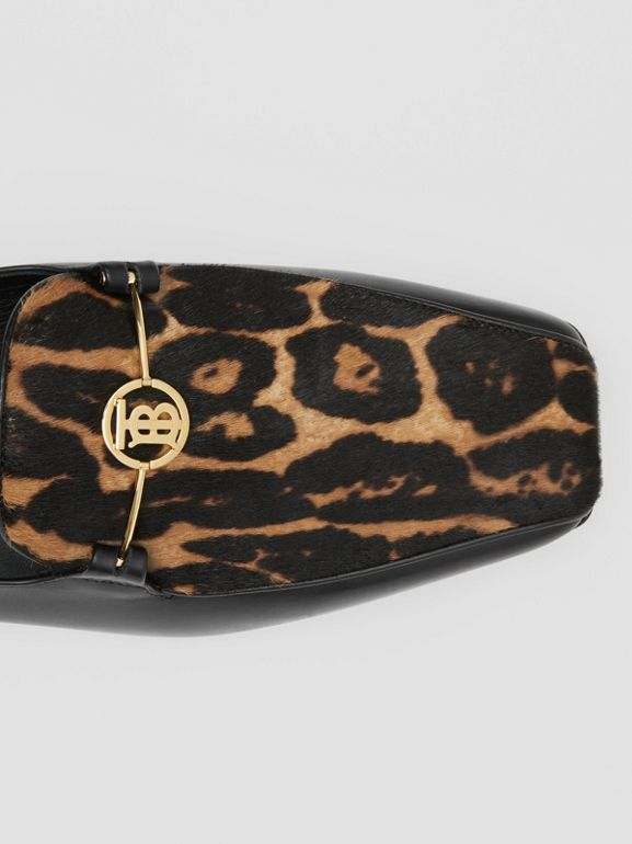 Leopard Print Calf Hair and Leather Loafers in Black/leopard - Women | Burberry United Kingdom - cell image 1