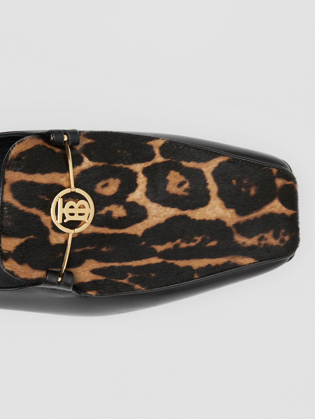 Leopard Print Calf Hair and Leather Loafers in Black/leopard