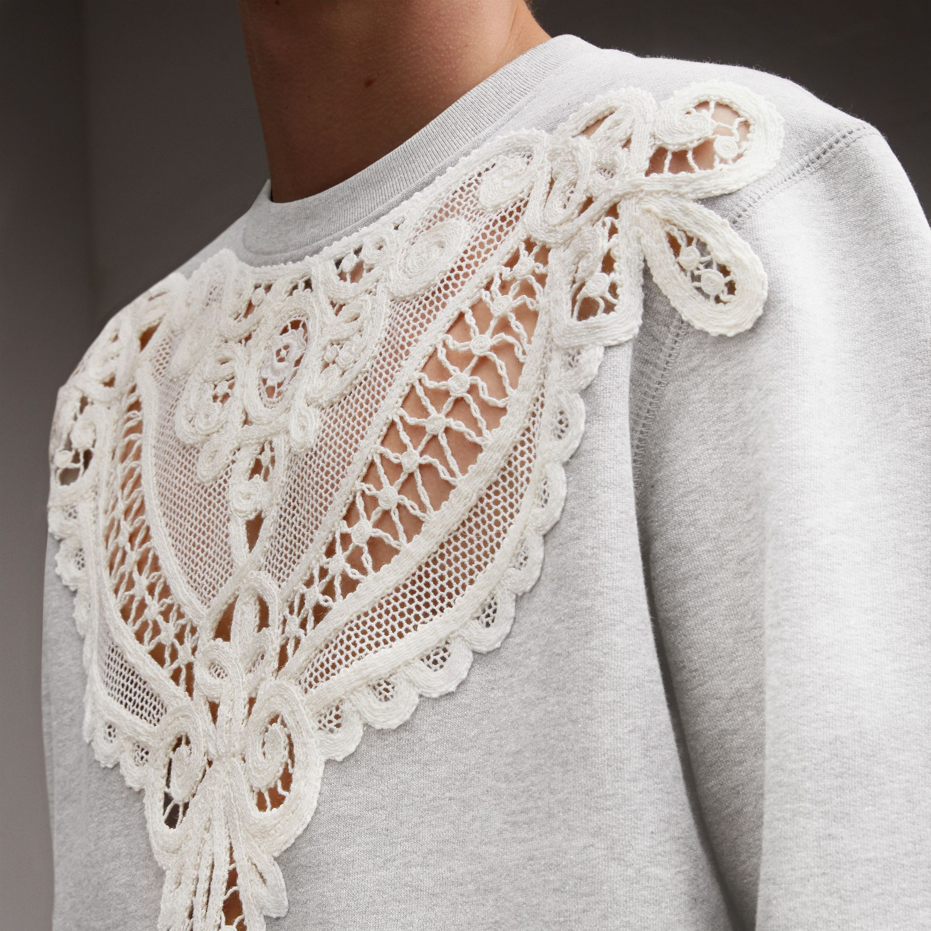 Unisex Lace Cutwork Sweatshirt in Light Grey Melange - Men | Burberry - gallery image 6