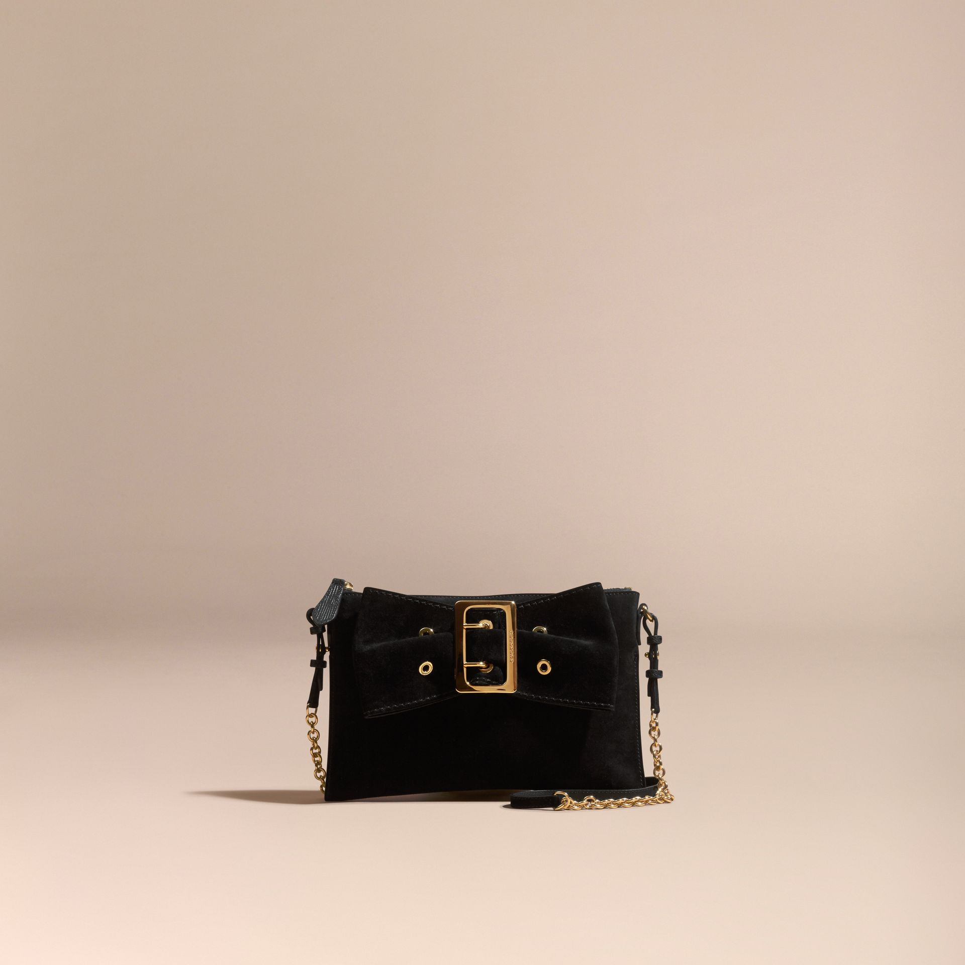 Black Suede Clutch Bag with Buckled Bow Detail Black - gallery image 9