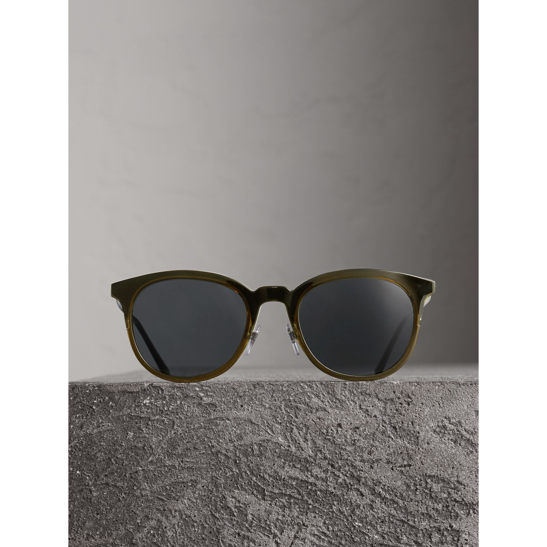 Round Frame Sunglasses in Dark Olive - Men | Burberry - gallery image 4