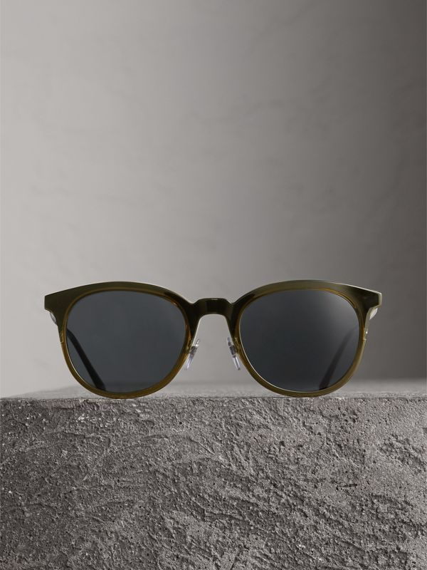Round Frame Sunglasses in Dark Olive - Men | Burberry - cell image 3