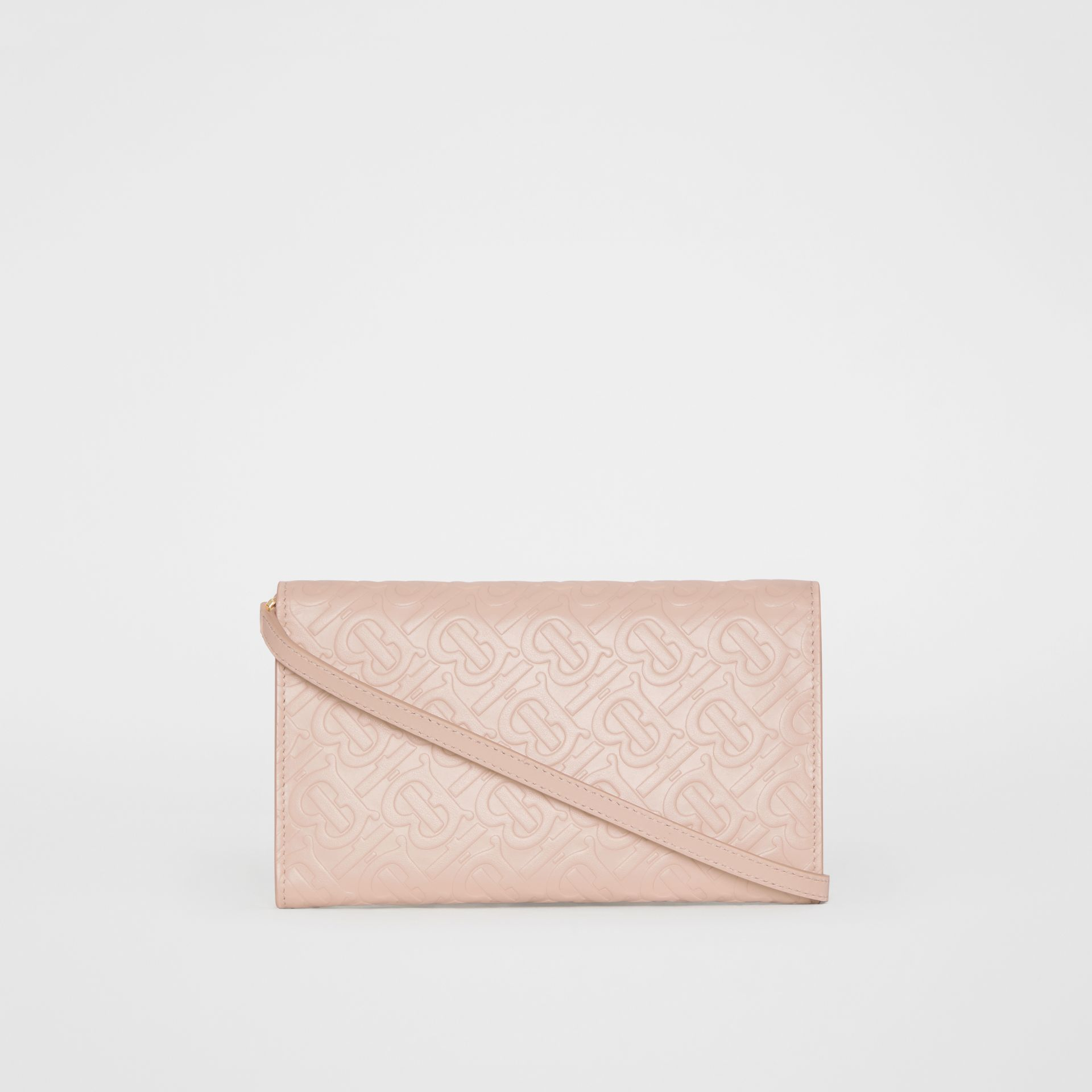 Monogram Leather Wallet with Detachable Strap in Rose Beige - Women | Burberry - gallery image 8