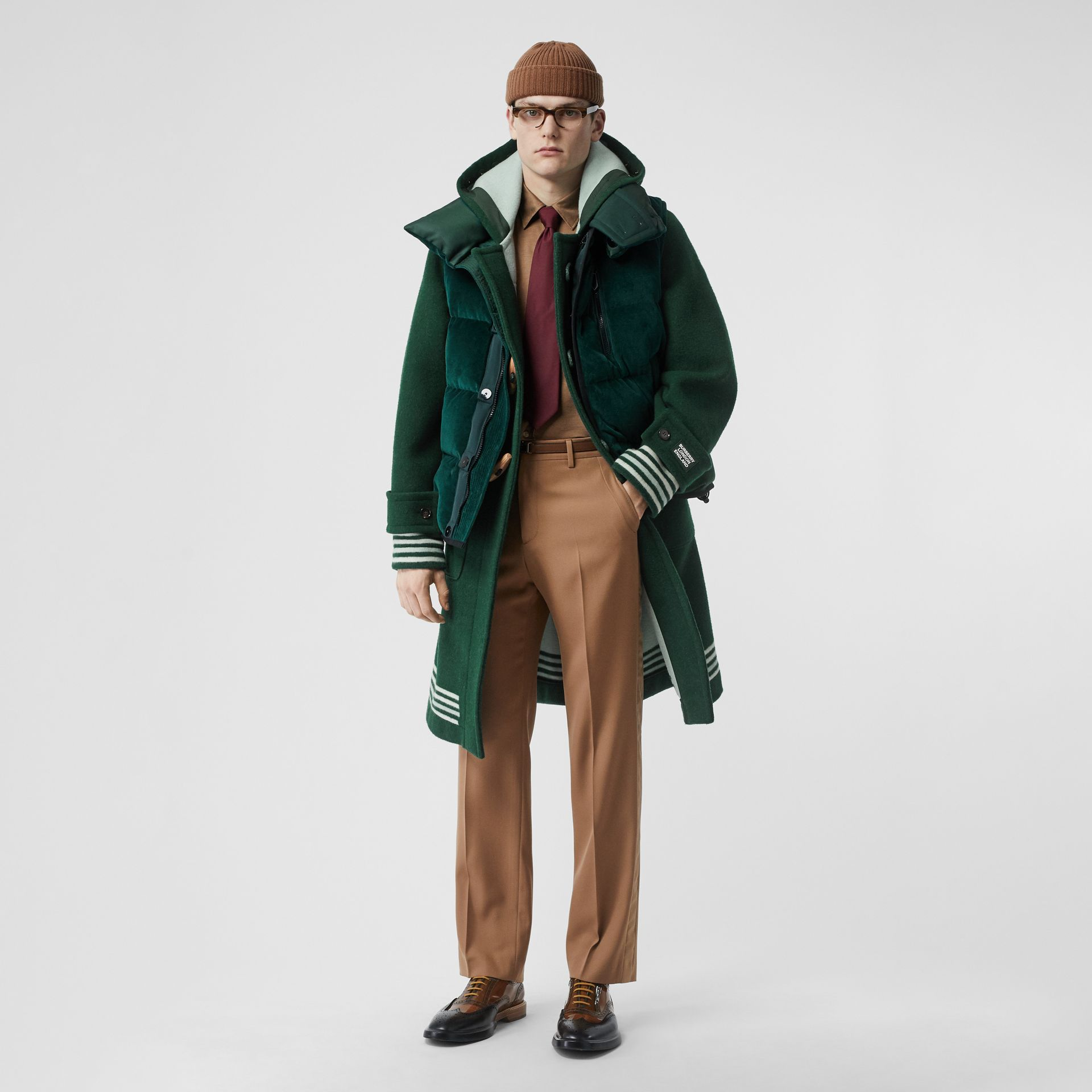 Stripe Detail Double-faced Wool Duffle Coat in Dark Pine Green - Men | Burberry - gallery image 1