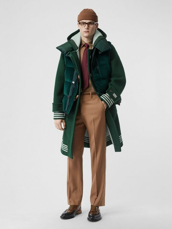 Stripe Detail Double-faced Wool Duffle Coat in Dark Pine Green - Men | Burberry United Kingdom - cell image 1