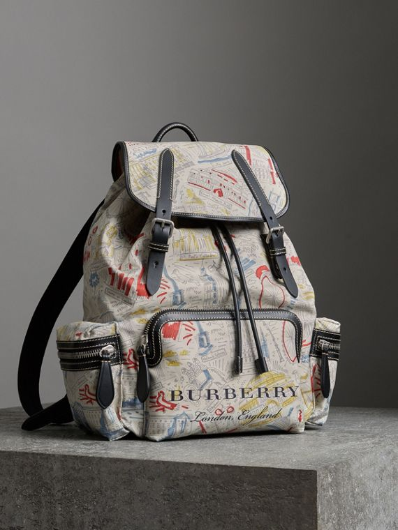 The Large Rucksack in London Print Canvas and Leather in Multicolour