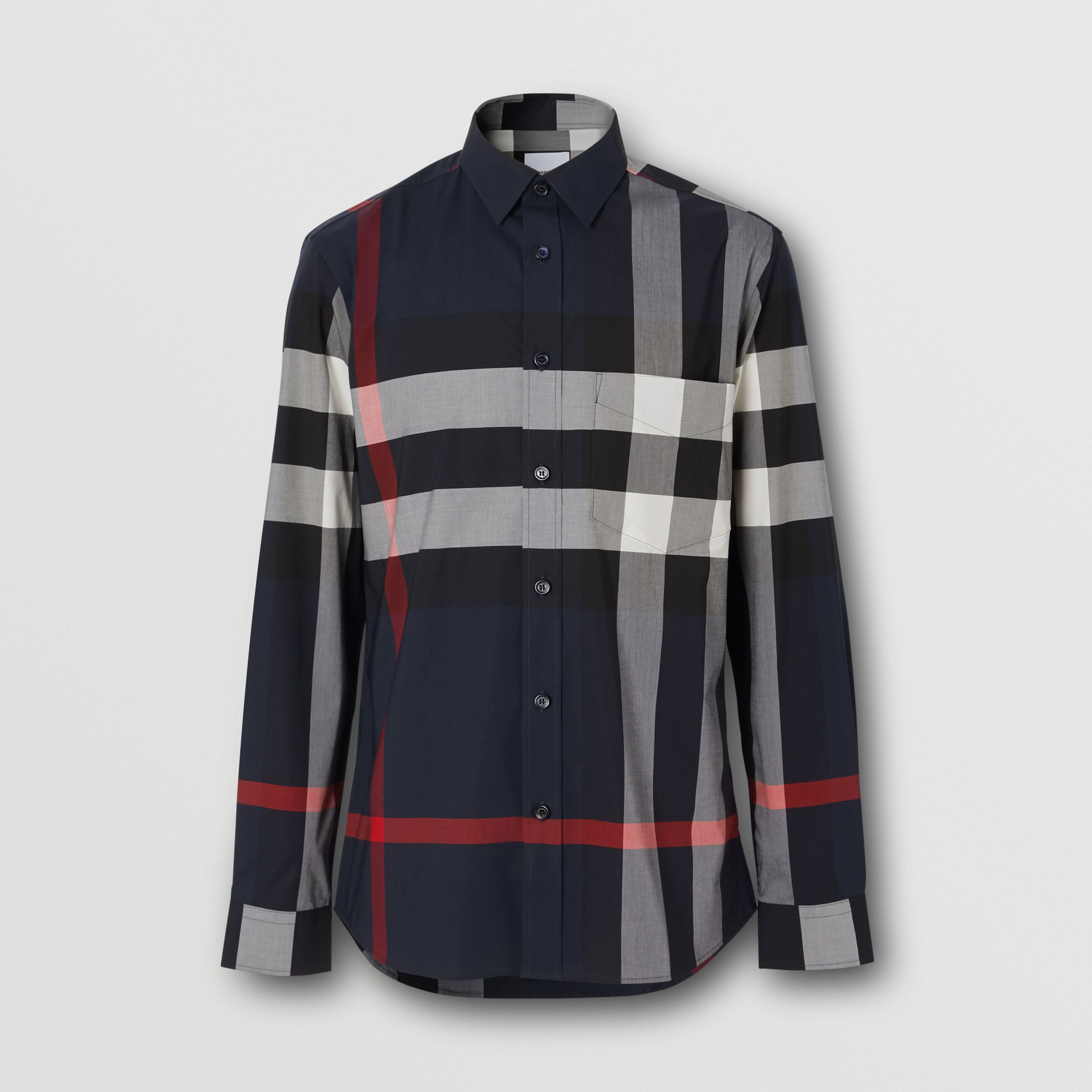 Check Stretch Cotton Poplin Shirt in Navy - Men | Burberry - 4