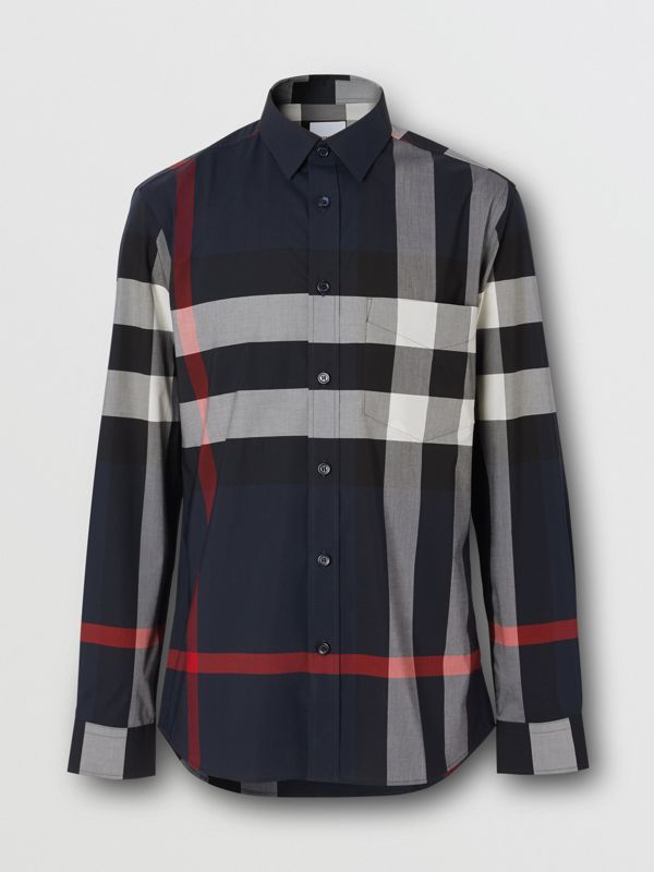 Check Stretch Cotton Poplin Shirt in Navy - Men | Burberry United Kingdom - cell image 3