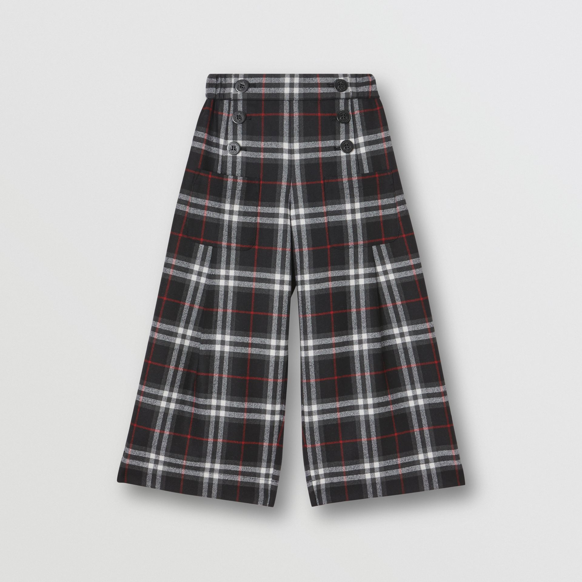 Vintage Check Wool Sailor Trousers in Black | Burberry United Kingdom - gallery image 0